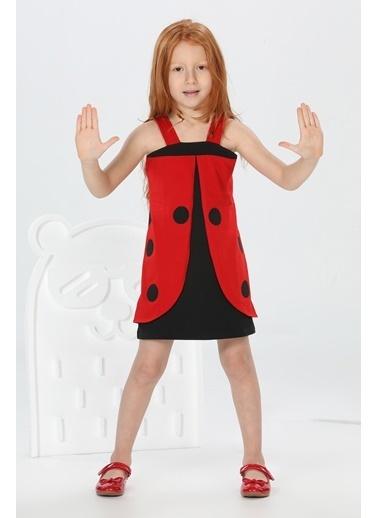 Lupiakids Uğurlu Kırmızı Siyah Kız Elbise Renkli